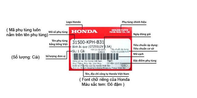 Tem phụ tùng chính hãng Honda